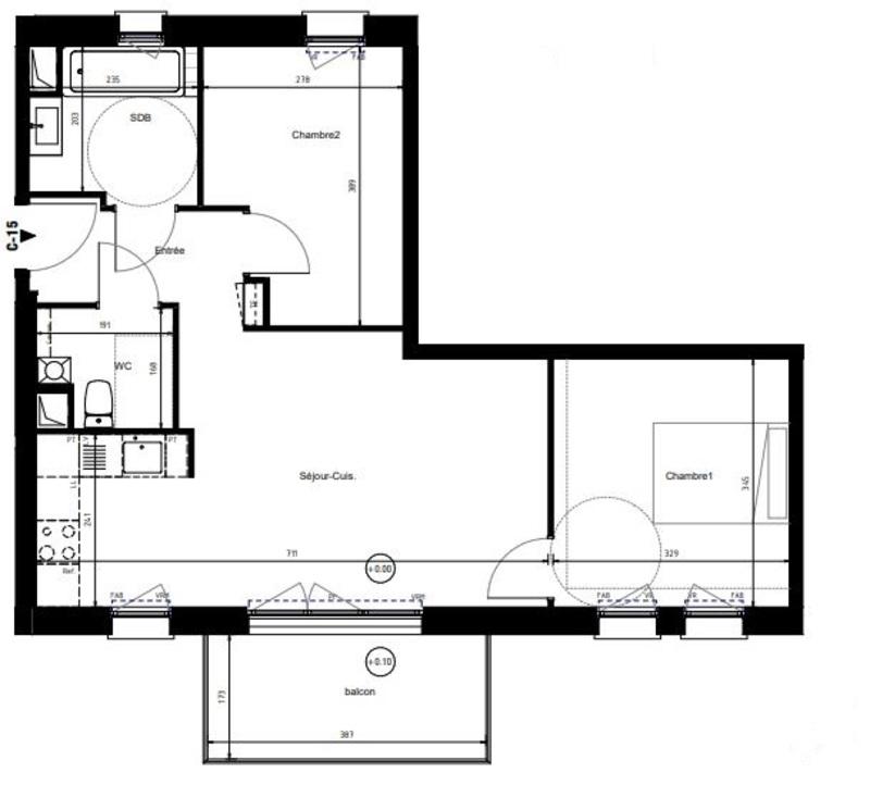 Appartement de 56  m2 - Villeneuve-d'Ascq (59650)