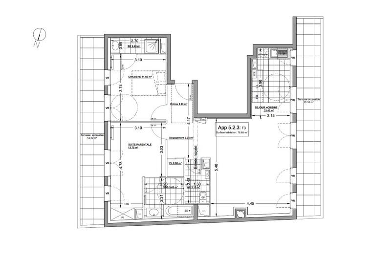 Appartement de 77  m2 - Asnières-sur-Seine (92600)