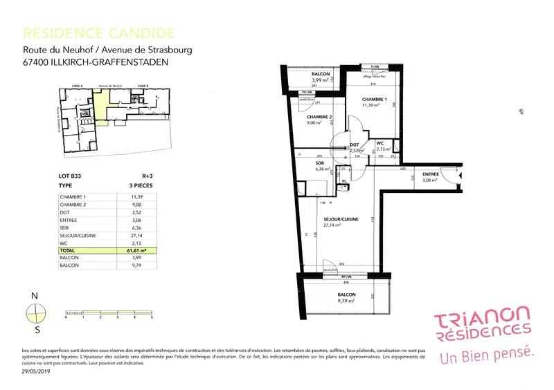 Appartement de 62  m2 - Illkirch-Graffenstaden (67400)