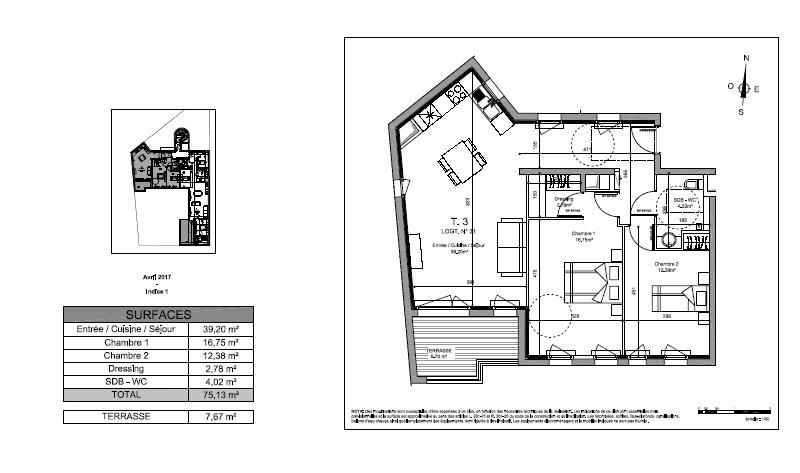 Appartement de 75  m2 - Rambouillet (78120)