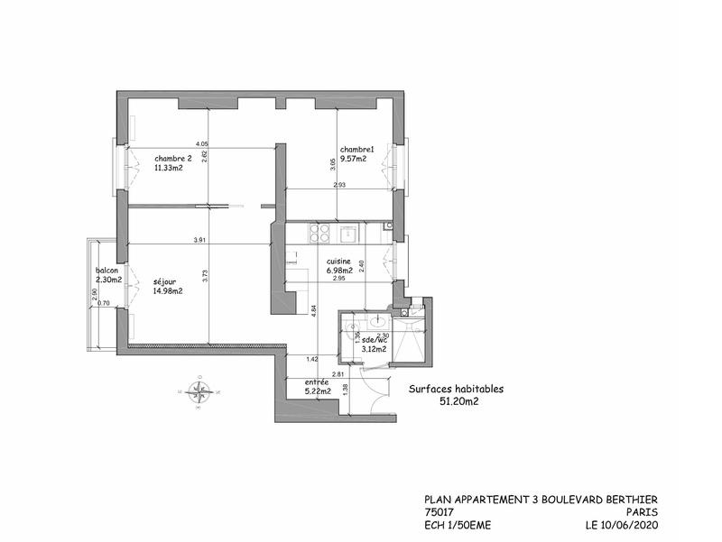Appartement Haussmannien de 51  m2 - Paris (75017)