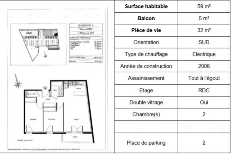 Appartement en résidence de 59  m2 - Saint-Caprais-de-Bordeaux (33880)