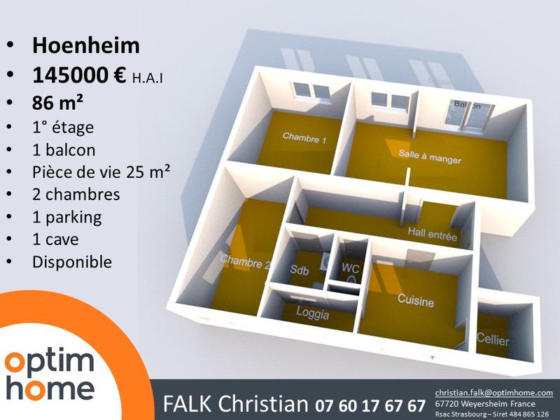 Appartement de 87  m2 - Hoenheim (67800)