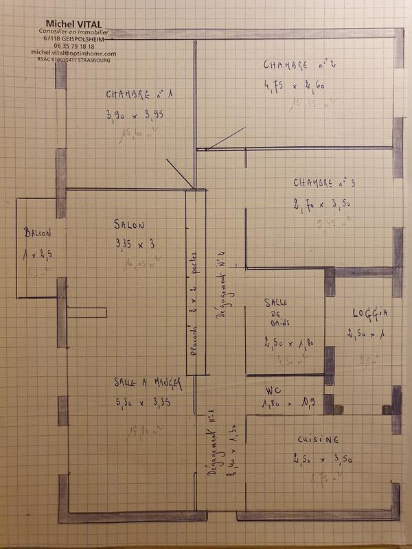 Appartement de 92  m2 - Illkirch-Graffenstaden (67400)