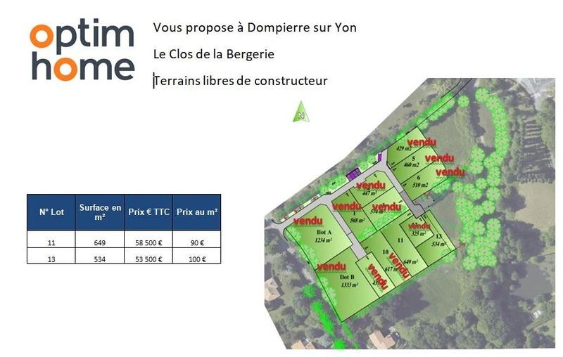 Terrain constructible de   m2 - Dompierre-sur-Yon (85170)