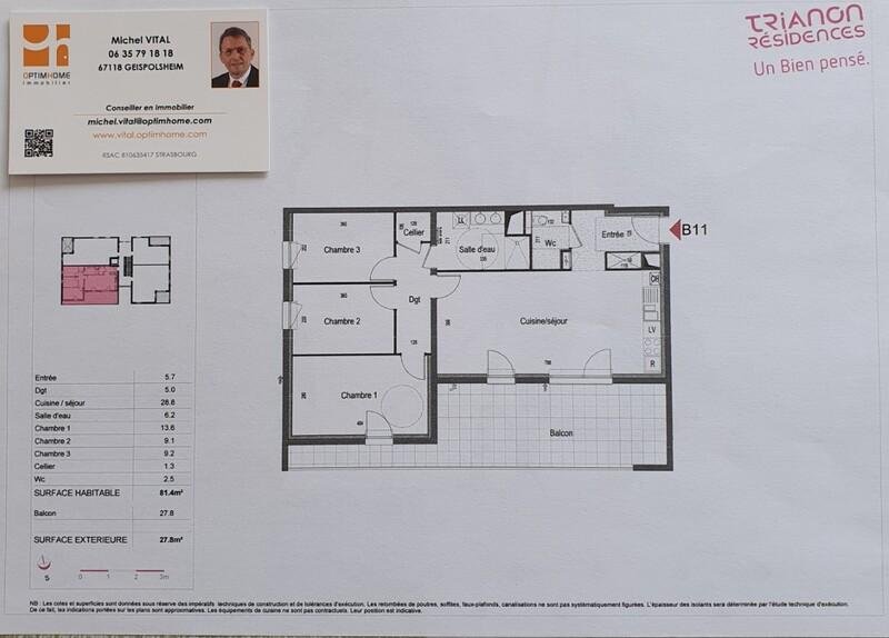 Appartement de 81  m2 - Bischoffsheim (67870)
